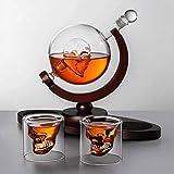 HYJMJJ Jarra de Whisky ANTER Set, Base de Madera, 2 Gafas de Tiro del cráneo, para Familia, Oficina, Exhibición del Arte del Restaurante Regalo de Whisky para Hombres