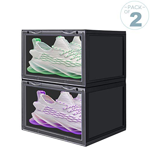 LOMOFI Shoe Storage Boxes 2PCS Clear Plastic Stackable Storage Bins Shoe Container Organizer for Collection Sneakers Limited Shoes All Kinds of Shoes