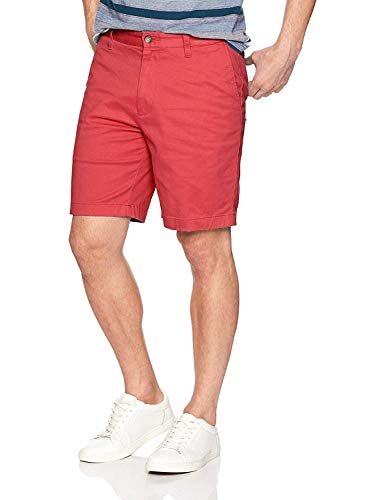 Nautica Men's Classic Fit Flat Front Stretch Solid Chino Deck Short, Sailor red, 34W
