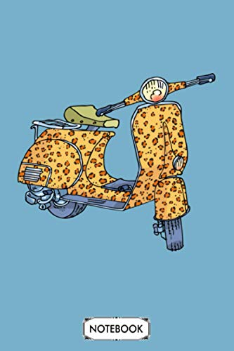 Leopard Vespa Notebook: Lined College Ruled Paper, Matte Finish Cover, Diary, Planner, Journal, 6x9 120 Pages