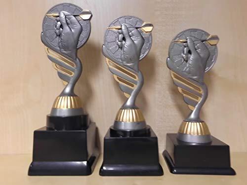 Fanshop Lünen Dart - Dartscheibe - Darts - Dartsport - Pokale 3er Serie - Sieger - Turnier - Kids - Trophäe - Geburtstag - (Gold/Silber) - Figur - Pokal - mit Gravur - (pf216) -