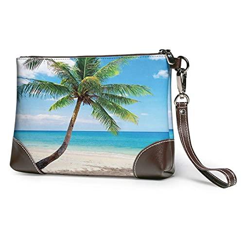 Yaxinduobao Bolso de mano con estampado de paisaje marino brillante de palmera, bolso de mano de cuero desmontable, bolso de mano para mujer