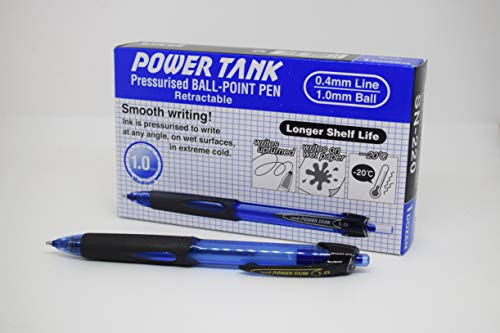 uni-ball 768192000 Power Tank SN-220 Paquet de 12 Stylos à bille rétractables larges encre Super Ink Bleu