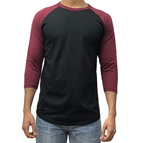 Kangora Men's Plain Raglan Baseball Tee T-Shirt Unisex 3/4 Sleeve Casual Athletic Performance Jersey Shirt (Black Burgundy, Large)