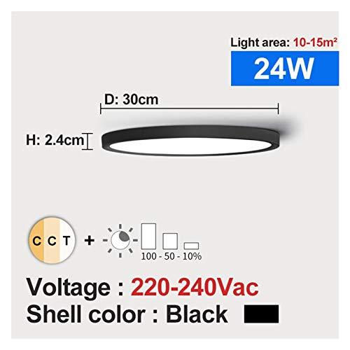 Sencillez Luz de techo LED Dimmable 12W 18W 24W 32W 220V con 3 colores ajustables para dormitorio Lámpara de techo moderna del baño para el pasillo de la sala de estar (Body Color : 24W Black shell)