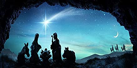 AOFOTO 6x3ft Nativity of Jesus Silhouette Background for Photography Christianity Holy Family Mary Joseph Birth of Chirist Night Comet Stars Manger Scene Backdrop Photo Studio Props Banner