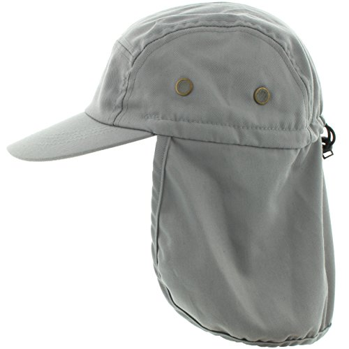 MG Twill Cap with Flap Hat, Grey Once size