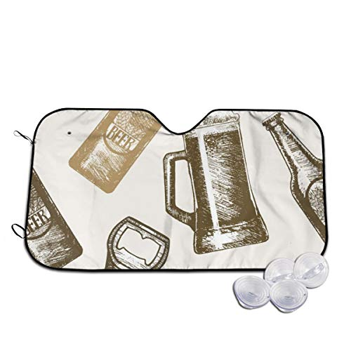 Windschutzscheibe, Sonnenblende für die Frontscheibe, verhindert das Aufwärmen des Autos im Inneren des Biers, Handzeichnung, Skizze Gr. 80, weiß
