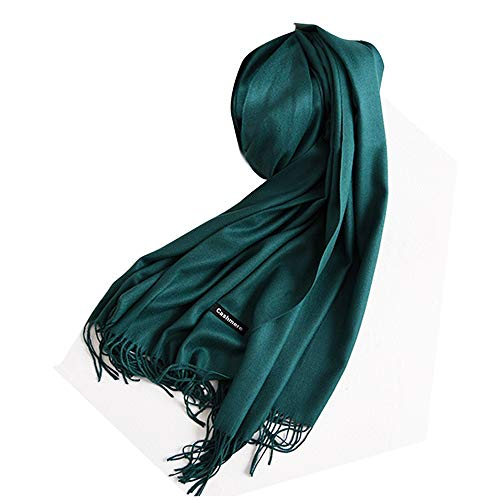 Vegena Damen Warm Schal,Klassische Volltonfarbe Cashmere Kopftücher,Tücher mit Quasten/fransen,200CM × 70CM Pashminas Dunkelgrün