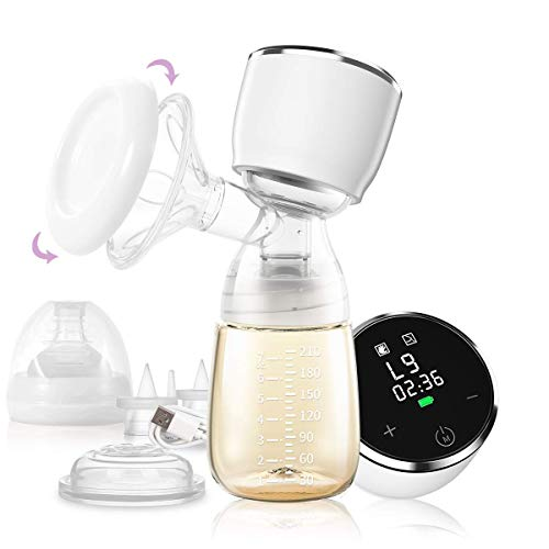 IKARE Portable Electric Breast Pump with 27 Strong Suction Levels, Ultra Quiet Pain-Free Rechargeable Breastfeeding Pump, Full Touch Screen BPA Free Pocket Baby Breast Milk Pump Perfect for Moms Trave