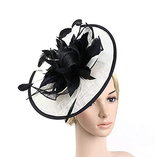 Vintage Women Fascinator Clip Ladies Day Races Wedding Party Banquet Bridal Tiara Headwear-Black