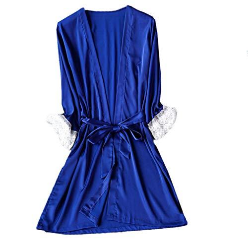 DNOQN Frauen Spitze Satin Seide Nachtwäsche V-Ausschnitt Dessous Pyjama Bad Kleid Unterwäsche