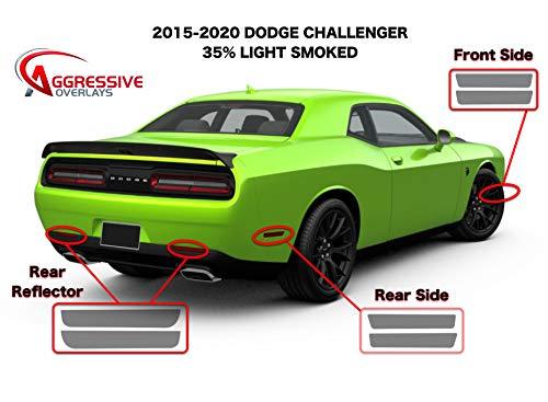 Aggressive Overlays - 2015-2020 Dodge Challenger Side Marker Tint Kit | Precut Dark Smoke Vinyl Overlays for '15-'20 Dodge Challenger (NOT-WIDEBODY) | Reflector Sidemarker Tint Film (35% Light Smoked)