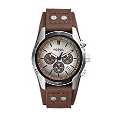 Case size: 45mm; Band size: 22mm; quartz movement with 3-hand analog display; mineral crystal face; imported Stainless steel case with brown dial and date window Genuine brown leather band with stud detail and buckle closure; interchangeable with all...