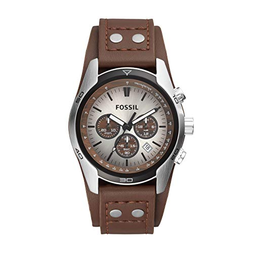 Fossil Men's Coachman Quartz Stainless Steel and Leather Casual Watch Color: Silver, Brown (Model: CH2565)