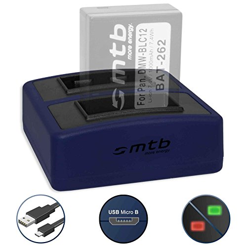 Cargador Doble Compact (USB) para DMW-BLC12 BLC12E / Leica BP-DC12 / Sigma BP-51 - Cable USB Micro Incluido