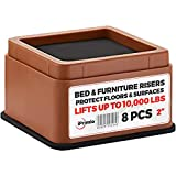 "iPrimio Bed and Furniture Risers – Square Elevator up to 2"" Per Riser and Lifts up to 10,000 LBs - Protect Floors and Surfaces – Durable ABS Plastic and Anti Slip Foam Grip – Stackable (8, Brown)"