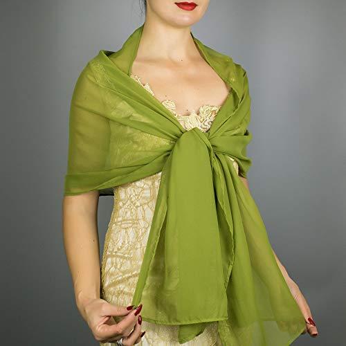 Chal chiffon color verde hierba khaki oliva novia boda novia para vestido...