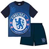 Chelsea FC Official Soccer Gift Boys Sublimation Short Pajamas Navy 6-7 Years