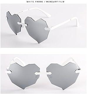 Sunglasses Child Sunglasses Fashion Love Heart Polarized Sunglasses Boys Girls Kids Baby Goggles UV400 Mirror Accessories for Summer Beach (Color : Silver)