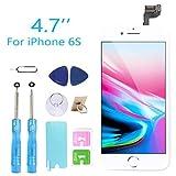 GLOBALGOLDEN Ecran LCD de Remplacement pour iPhone 6s Blanc avec Bouton Home Capteur de proximité Oreille Haut-Parleur caméra Frontale Protecteur d'écran et Outils de réparation
