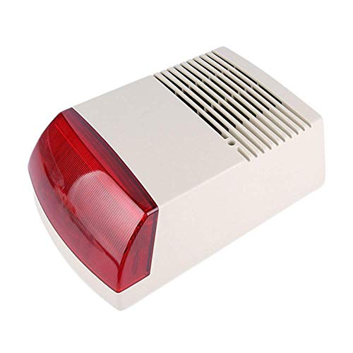 Amusingtao Alarma Sirena con Cable Estroboscópica Seguridad para Hogar Anti Robo Accesorios Compacto Exterior Interior Flash Sonido Luz Profesional Humo Altavoz Gh Potencia Acústico