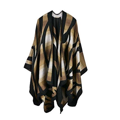 Bakerdani Women's Winter Wrap Blanket Poncho Cape Shawl Cardigans