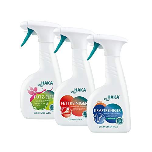 HAKA Set Flotter Dreier I 500ml Kraftreiniger I 500ml Fettreiniger I 500ml Putzelfe I Das Reinigungs-Set für hartnäckige Verschmutzungen I Reinigungsmittel für den gesamten Haushalt