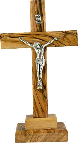 Catholic Standing OR Hanging Crucifix Cross, Certified Olive Wood Home Décor Table and Wall Cross from Jerusalem, Israel, Holy Land Tabletop Jesus Crucifixion Cross for Desk, Crucifijo Católico Cruz