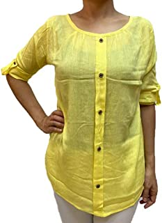 Veronica Long Sleeve Ladies Blouse round neck yellow