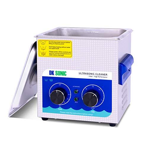 DK SONIC Tischplatte Ultraschallreiniger 2L Edelstahl Ultraschallreinigungsgerät für Uhren Schmuck Zahnprothesen Tattoo Ketten Injektor Halskette Uhren Rasierer Gläser Aufzeichnungen Brille(2L,220V)