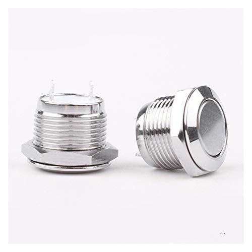 Botón 12 mm 16 mm 19 mm 22mm Microtravel Steel de acero inoxidable Interruptor de pulsador Auto-reajuste / momentáneo Normal abierto 24V Altura 14.5mm ( Color : 12mm , Voltage : Flat head )