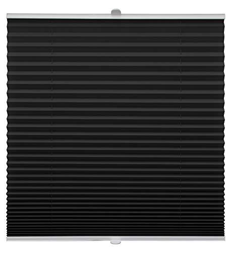 Plissee auf Maß für alle Fenster Montage Glasleiste Blickdicht mit Spannschuh Sonnenschutzrollo Schwarz Breite: 51-60 cm, Höhe: 40-100 cm