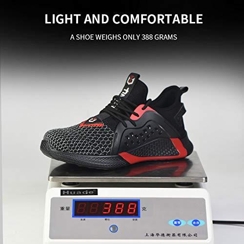 Zapatos de seguridad para hombres/mujeres gorras de dedo del pie de trabajo transpirables entrenadores y zapatillas de deporte, color Rojo, talla 40 2/3 EU