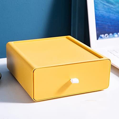JSJJAKM Organizador de escritorio Cajón, caja de almacenamiento de maquillaje, contenedor apilable para joyas, máscara de gran capacidad, almacenamiento de oficina (color: amarillo)