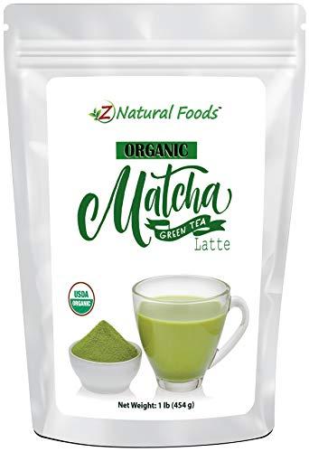 Organic Matcha Green Tea Latte - Superfood Mix of Matcha, Coconut Milk & Barley Grass - Sweetened With Vanilla & Stevia - No Added Sugar or Artificial Ingredients - Vegan, Non GMO, Gluten Free - 1 lb