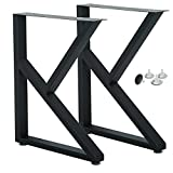 """Matel Legs for Table,Cast Iron Dining Table Legs, K Type Table Legs,Rustic Heavy Duty DIY Iron Table Legs,Square Tube Coffee Table Legs 2 PCS(28"""" Height 18"""" Wide) (A)"""