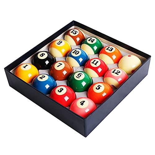 HSBAIS 2-1/4 Pulgadas Pool Table Balls, Bolas de Billar - 16 Resina tamaño Regular Billiard Set, Bolas de Referencia Profesionales,57.2mm