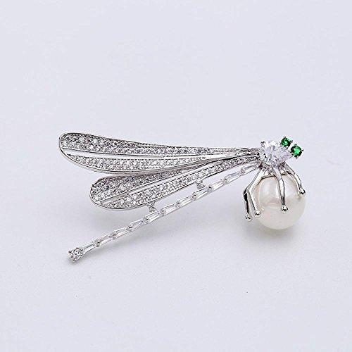 Daeou Broches y alfileres para Mujer Ramillete de libélula de la Señora Perla Broche Circón Incrustaciones de Micro