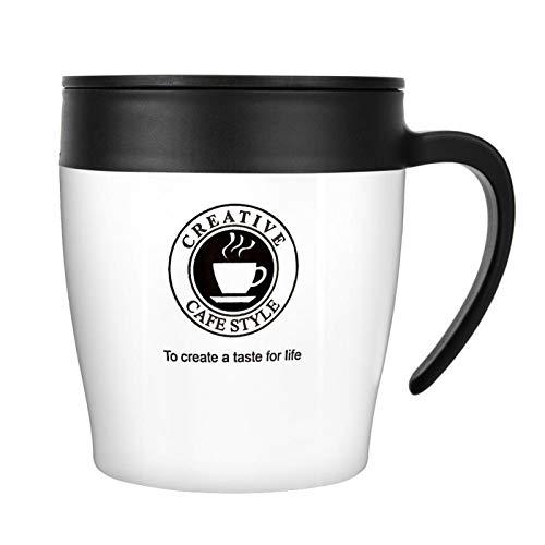 Okuyonic Taza de café con Aislamiento de Frasco de vacío de Acero Inoxidable para Viajes para Leche(White)