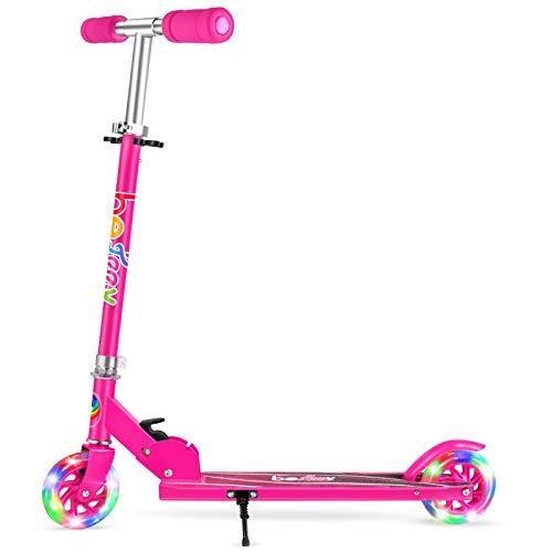 BELEEV Roller Kinder mit Ständer, 2 Räder Klappbar Scooter, 3 Höhenverstellbare Kinderroller, PU Led-räder Kinderscooter für Mädchen Jungen (Hot Pink)