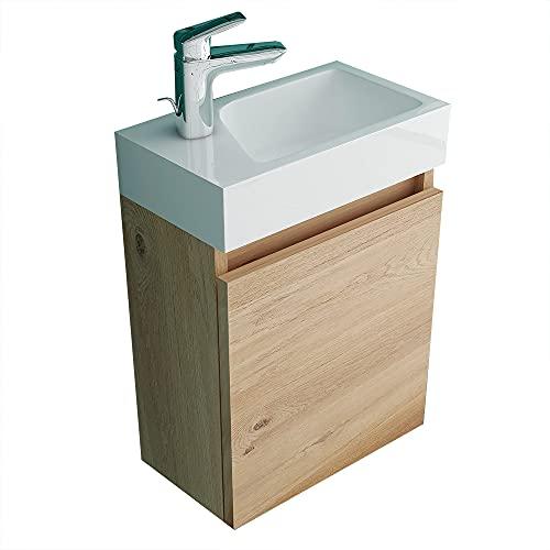 Badmöbel-Set Waschplatz Eiche Matt I Bestehend aus Waschbecken mit vormontiertem Unterschrank I Becken aus hochwertiger Sanitärkeramik
