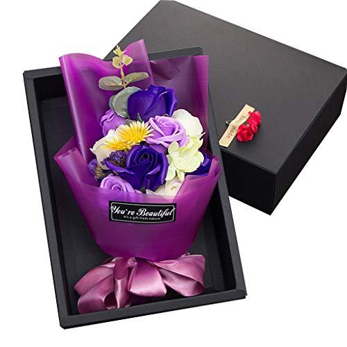 YiPong 11 piezas creativas perfumadas de jabón artificial flores ramo de rosas caja de regalo de simulación rosa día de San Valentín regalo de cumpleaños decoración regalos para mujeres