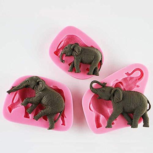 Elefant Form Silikonform Piktogramm Fudge Schokolade Formen 3D Nicht Klebend für Mond Kuchen Schokolade Seife Herstellung Kekse Kekse Bagels Muffin 3 Teile