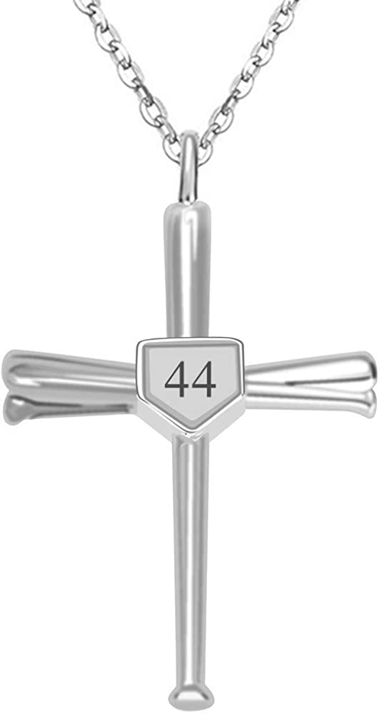 Kumshunie Baseball Bats Cross Necklace with Number Stainless Steel Charm Sports Pendant Gift for Men
