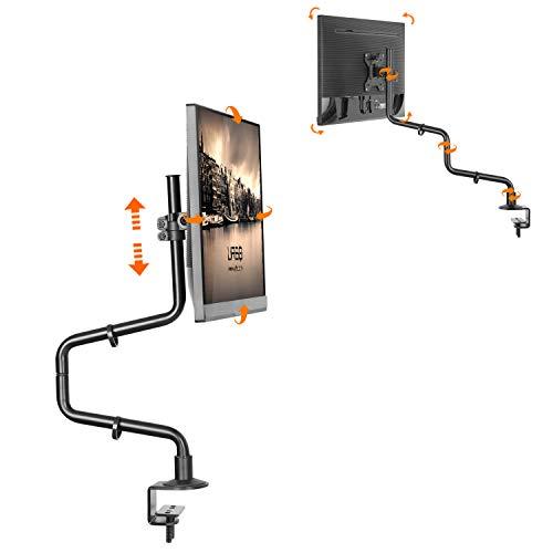 Urbo Asten Extra-Lange, anpassbare Monitor Halterung, VESA Platte, Dual-Installation, Kabel Klammern, Monitor Tischhalterung für Bildschirme bis zu 32-Zoll (82 cm) in Büros und Zuhause