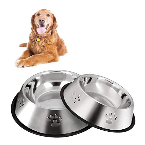 2 Stainless Steel Dog Bowls, Dog Feeding Bowls, Dog Plate Bowls With Non-slip Rubber Bases, Medium And Large Pet Feeder Bowls And Water Bowls (L-26 cm / 10.1 inches)