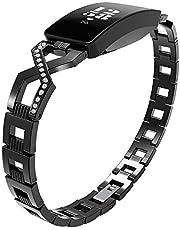 Sport Polsband, Compatibel met Fitbit Inspire Strap/Fitbit Inspire HR Strap, Roestvrij staal Rhinestone Vervanging Bands voor Fitbit Inspire/Fitbit Inspire HR