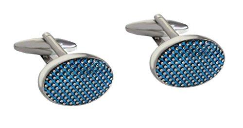 Unbekannt Manschettenknöpfe silbern blau oval Pünktchen Optik + Silberbox