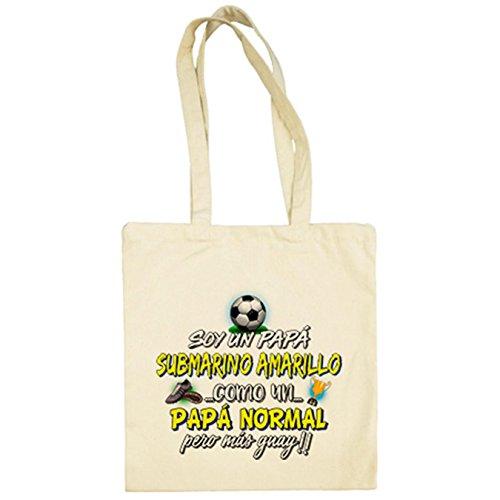 Diver Camisetas Bolsa de tela soy un papá Submarino Amarillo como un papá normal pero más guay para aficionado al fútbol - Beige, 38 x 42 cm